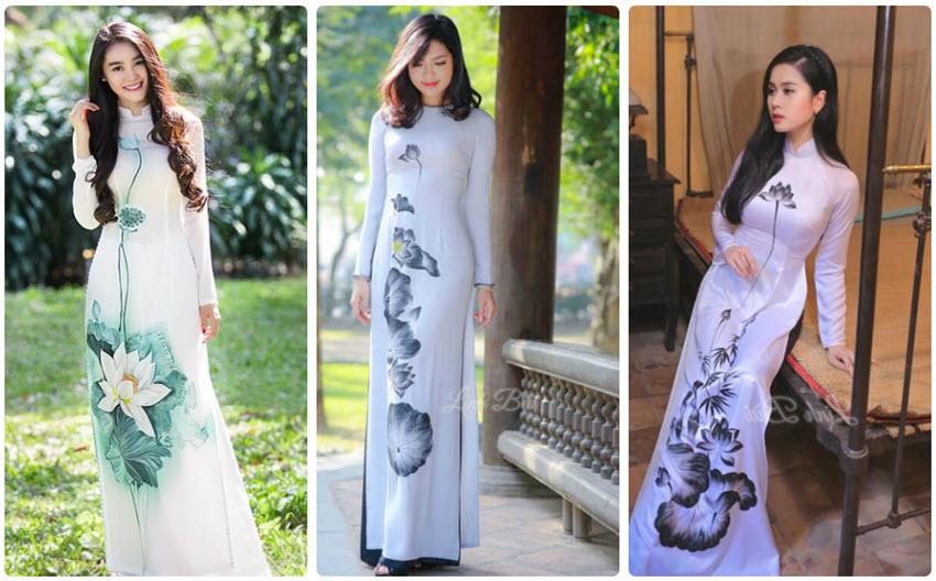 áo dài hoa sen đi lễ chùa