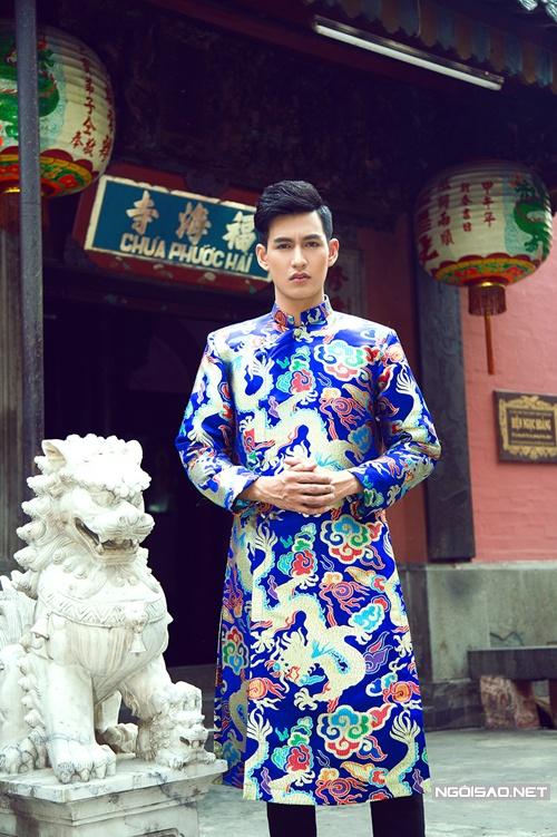 cho thuê áo dài nam cách tân viếng chùa vy lan