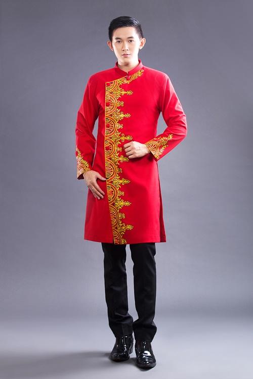 áo dài nam cách tân màu đỏ