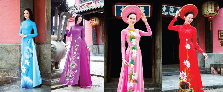 Vô vàn kiểu dáng cho chiếc áo dài nữ rộng tà vẽ họa tiết