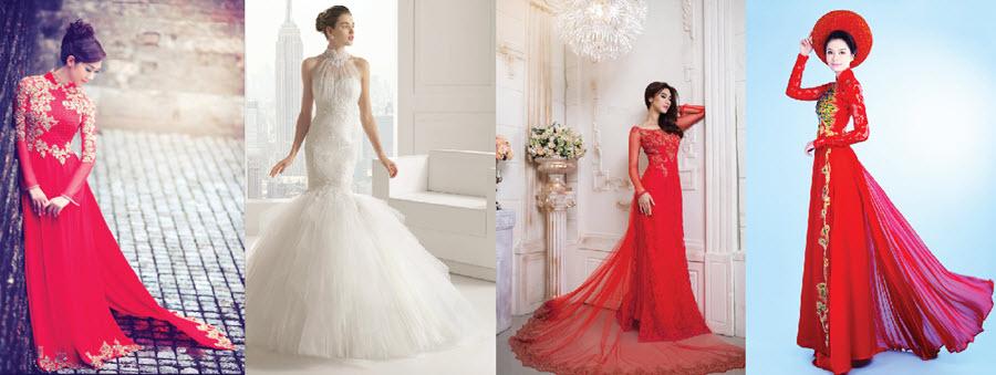 Lựa chọn áo dài cưới đuôi dài cho cô dâu