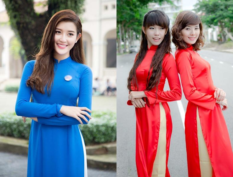 Cho thuê áo dài lễ tân nhiều màu sắc