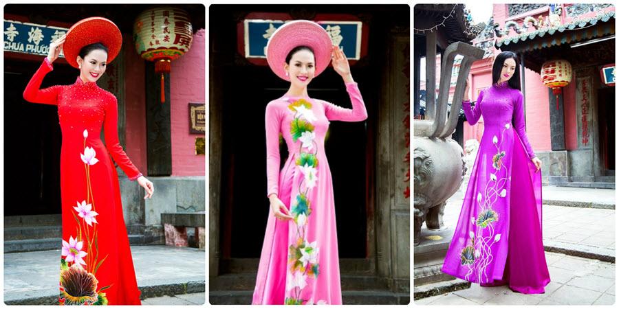 Những mẫu áo dài hoa sen đẹp cho ngày cưới