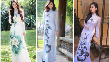 Cho thuê áo dài hoa sen đi lễ chùa