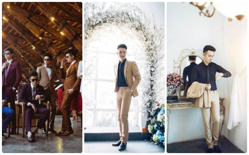Trào lưu vest nam màu sắc chụp ảnh cưới